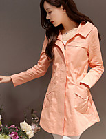 Women's Casual/Work Medium Long Sleeve Long Trench Coat