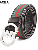 Men Vintage/Party/Work/Casual Calfskin/Canvas Wide Belt plate buckle leather first layer of leather stripes