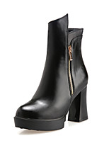 Women's Shoes Chunky Heel Fashion Boots/Round Toe Boots Dress Black/Red