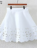 Women's White/Black Skirts , Sexy/Casual Above Knee