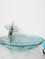 Frosting Carved Transparent Round Tempered Glass Vessel Sink with Waterfall Faucet Pop - Up Drain and Mounting Ring