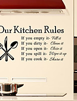Wall Stickers Wall Decals Style Kitchen Rules English Words & Quotes PVC Wall Stickers