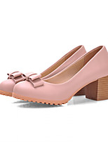 Women's Shoes Faux Leather Chunky Heel Heels Pumps/Heels Office & Career/Casual Pink/Beige
