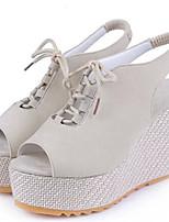 Women's Shoes Wedge Heel Open Toe Sandals Dress Black/Purple/Beige