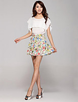 Women's Multi-color Skirts , Casual Above Knee