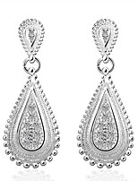 Fashion Drop Shaped Silver Plating  Silver Zircon Earrings Jewelry(White,Blue)(1Pair)