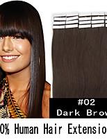 18 pouces remy 40g / set peau ruban cheveux malaisiens extensions de cheveux humains 19 couleurs pour la beauté des femmes