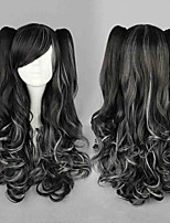 Doubl Gradient Color Rock Wigs Neat Bang Vogue Anime Black Grey Long Curly Two Clips Removable Braids Hairs