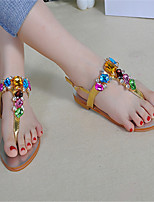 Women's Shoes Faux Leather Flat Heel Open Toe Sandals Casual Black/Silver/Gold