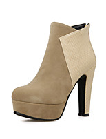 Women's Shoes Fleece Chunky Heel Bootie/Round Toe Boots Dress Black/White/Beige