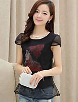 Women's Print White/Black T-shirt , Round Neck Short Sleeve Mesh