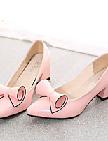 Women's Shoes Chunky Heel Pointed Toe Pumps/Heels Dress Black/Pink/Red/White