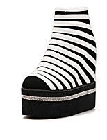 Women's Shoes Fleece Platform Round Toe Boots Casual Black/White