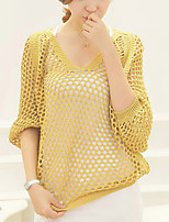Women's White/Black/Yellow/Gray Pullover , Casual ¾ Sleeve Hollow Out
