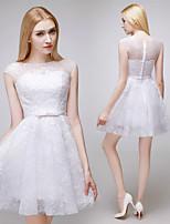 웨딩 드레스 - 루비(색상은 모니터에 따라 다를 수 있음)/화이트 A 라인 숏/미니 바토 레이스