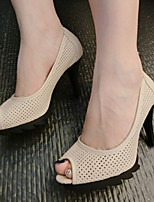 Women's Shoes Stiletto Heel Peep Toe Sandals Casual Black/Beige
