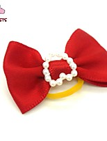 FUN OF PETS® Cute  Ribbon Style Pure Colour Pearl Decorated Rubber Band Hair Bow for Pet Dogs  (Random Color)