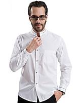 2015 Men Shirt White Color Mandarin Collar Contrast Buttons Casual Long sleeve 4303