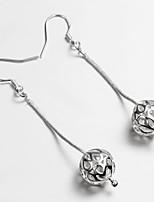 Wedding Dress Twist Bead Design Silver Plated Drop Earrings for Lady