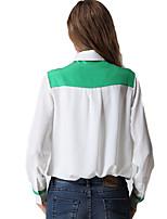 Women's Loose Contrast Color Chiffon Blouse Summer Tops Plus Size Work Shirt