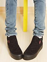 Zapatos de mujer - Tacón Plano - Plataforma / Creepers / Punta Redonda - Sneakers a la Moda / Mocasines - Exterior / Casual - Tela -Negro
