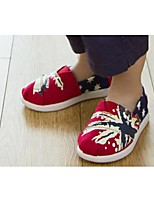 Girls' Shoes Casual Round Toe Canvas Loafers Red