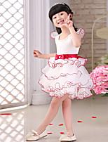 꽃의 소녀 드레스 - 프린세스 짧은 소매 무릎길이 오르간자/사틴
