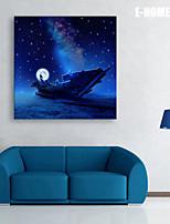 e-FOYER étiré conduit art toile d'impression le bateau de lune LED clignotante impression de fibre optique