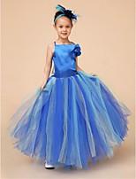 Flower Girl Dress Floor-length Satin/Tulle Ball Gown Sleeveless Dress(Headpiece Not Include)