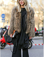 Fur Coats Coats/Jackets Long Sleeve Faux Fur Camel