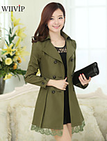 Women's Casual/Plus Sizes Medium Long Sleeve Long Trench Coat (Cotton/Polyester)WP7D20