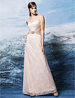 Homecoming Formal Evening Dress - Pearl Pink Sheath/Column Scoop Floor-length Lace
