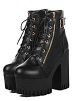 Chaussures Femme - Décontracté - Noir / Bordeaux - Gros Talon - Bout Arrondi / Bottes à la Mode - Bottes - Faux Cuir