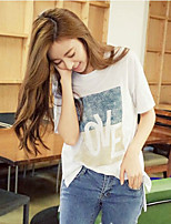 Women's Casual/Print Micro-elastic Short Sleeve Regular T-shirt (Cotton Blends)