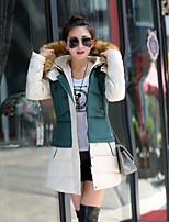 Women's Casual Long Sleeve Long Parka (Cotton Blends/Microfiber)