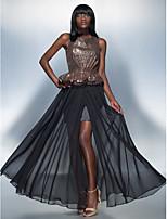 Formal Evening Dress - Black Sheath/Column Scoop Floor-length Chiffon/Sequined