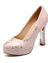 Women's Shoes Chunky Heel Heels/Platform/Round Toe Pumps/Heels Dress Blue/Pink/White