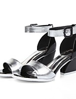 Women's Shoes Leather Chunky Heel Heels/D'Orsay & Two-Piece/Open Toe Sandals Outdoor/Casual Silver