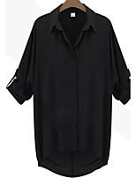 Women's Sexy Casual Cute Work Plus Sizes Inelastic ½ Length Sleeve Regular Shirt (Chiffon)