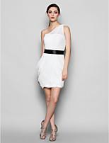 Knee-length Chiffon Bridesmaid Dress - Ivory Plus Sizes / Petite Sheath/Column One Shoulder