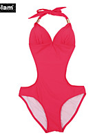 I-Glam Women's Red One-piece Swimwear with Cut-out Side
