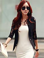 Women's Solid White Blazer , Lace Surplice Neck ¾ Sleeve