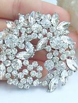Wedding 2.17 Inch Silver-tone Clear Rhinestone Crystal Flower Bridal Brooch Pendant