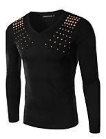 JOGAL Men's Casual/Work Print/Pure Long Sleeve Regular T-Shirt (Cotton/Polyester)