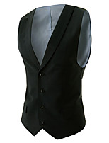 Men's Casual/Work Pure Sleeveless Regular Vest