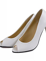 Women's Shoes Faux Leather Low Heel Peep Toe Sandals Casual Black/White