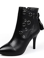 Damesschoenen Leer Stilettohak Korte laarsjes/Gepunte neus Laarzen Formeel Zwart