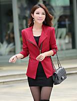 Women's Solid Red/Black/Yellow Blazer , Casual Shirt Collar Long Sleeve