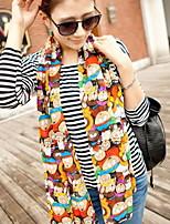 Women Cute Candy Color Chiffon Scarf