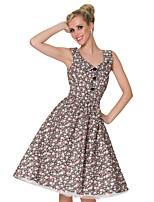 Vintage Style Lapel MultiColor Cotton Classic Dress